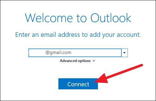Outlook introducir cuenta de Gmail