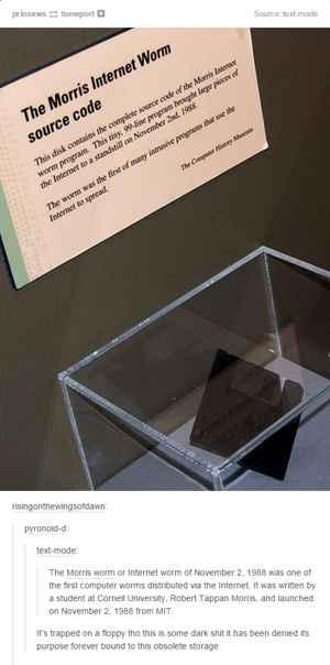 floppy disc código fuente del gusano Morris