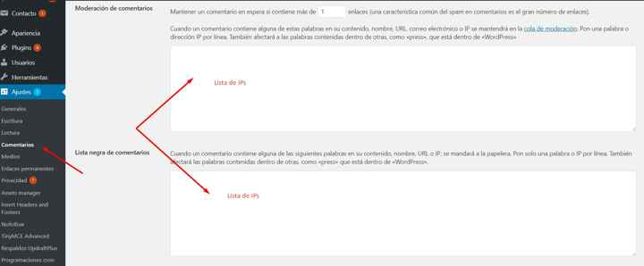 bloquear IP en comentarios de WordPress