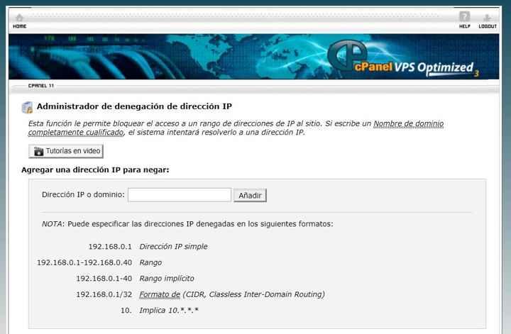 añadir denegación  de IP en cPanel