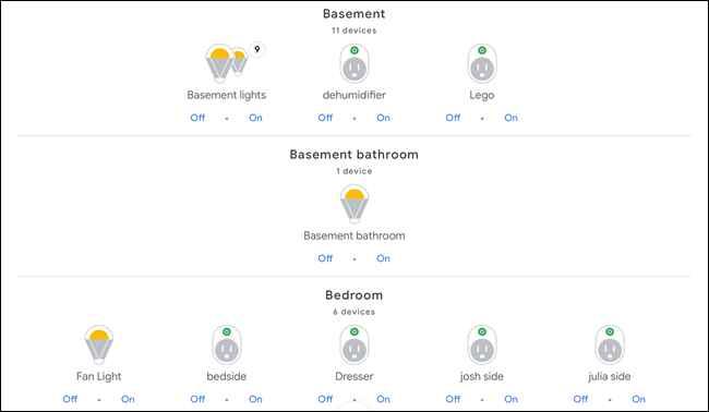 dispositivos inteligentes en varias habitaciones