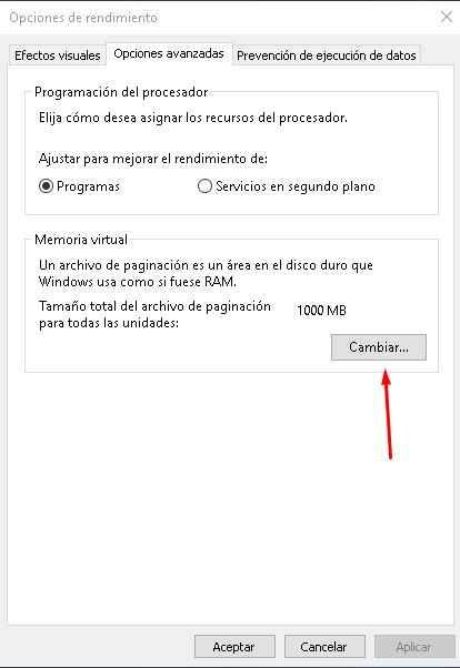 opciones de rendimiento en Windows 10
