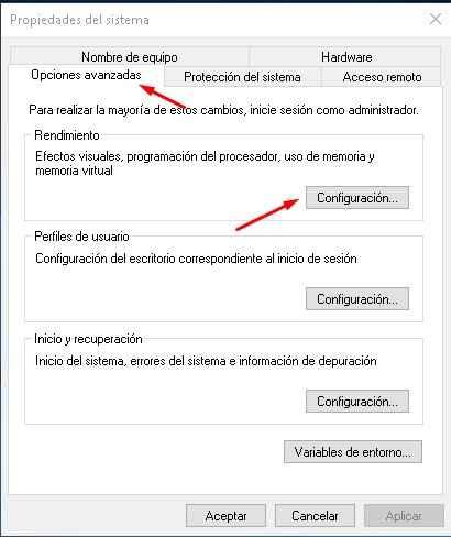 propiedades del sistema en Windows 10