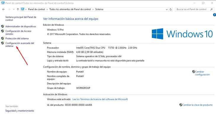sistema en Windows 10