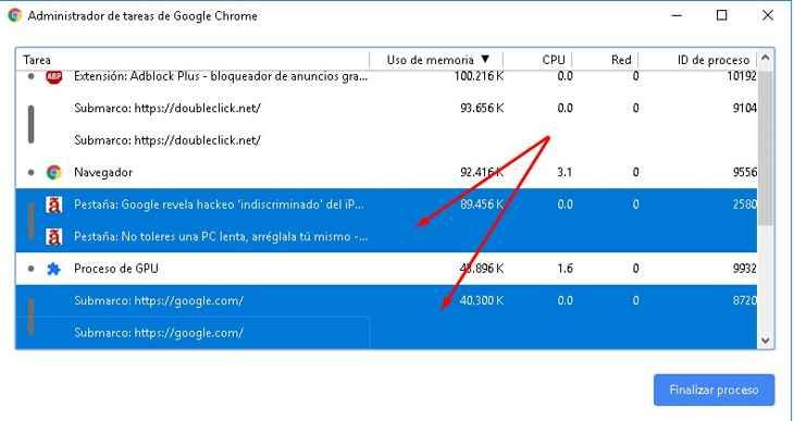 finalizar varios procesos en el Administrador de tareas de Chrome