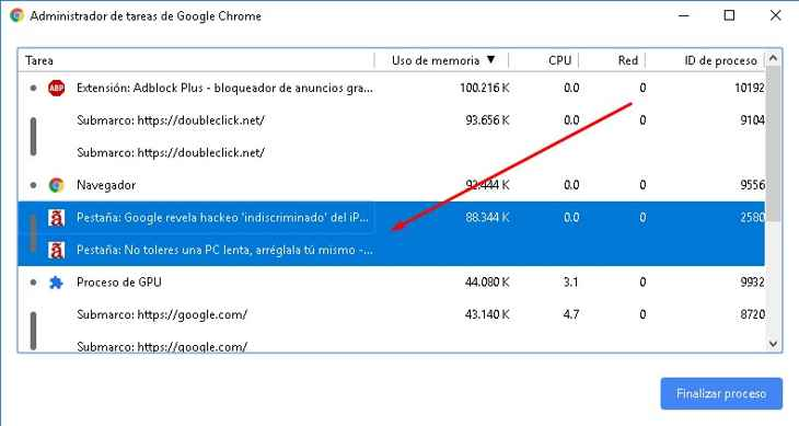 finalizar proceso en el Administrador de tareas de Chrome