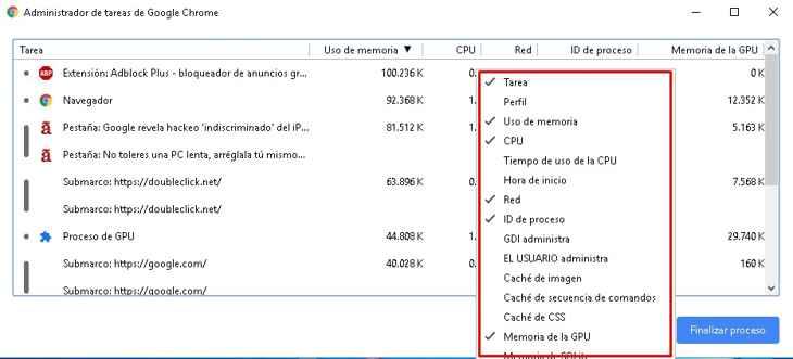 Administrador de tareas de Chrome, lista de opciones