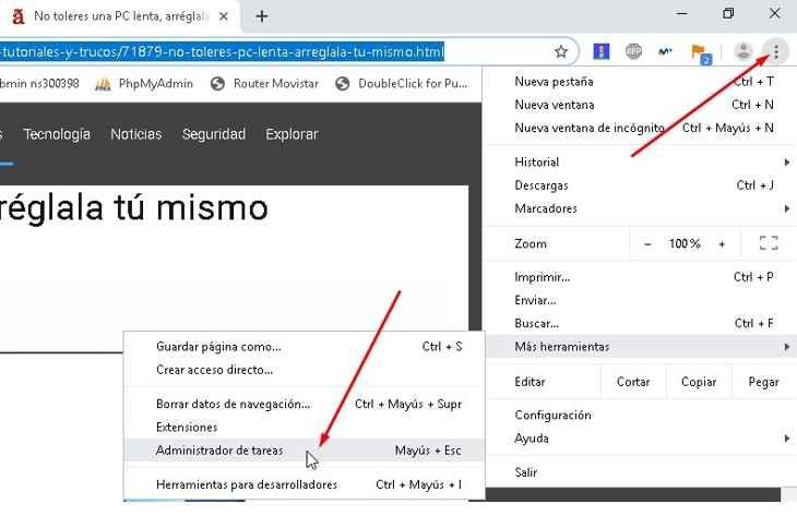 Abrir el Administrador de tareas de Chrome