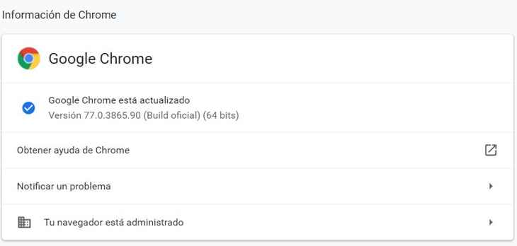 Chrome actualizado