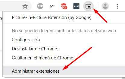 administrar extensiones de Chrome