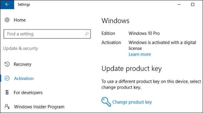 cambiar clave de producto en Windows 10