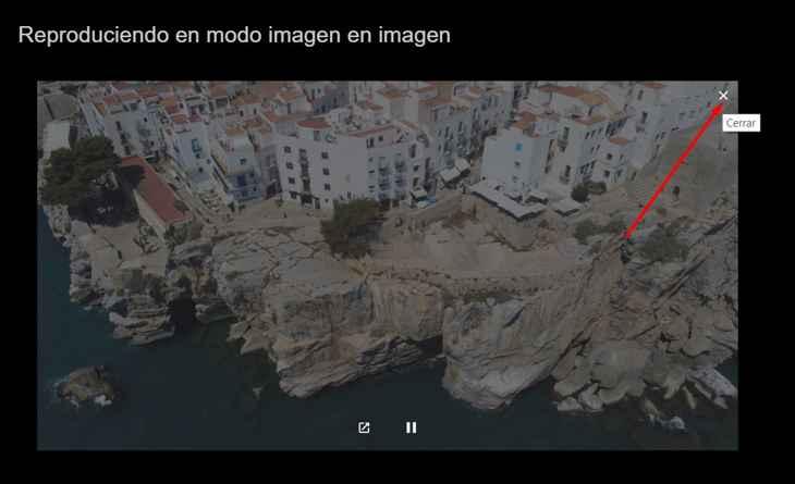 cerrar en Chrome modo imagen en imagen