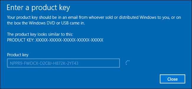 clave de producto de Windows 10