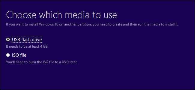instalación de medios de Windows 10