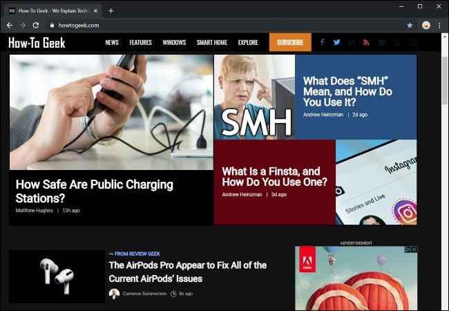 Chrome, modo oscuro en sitio web