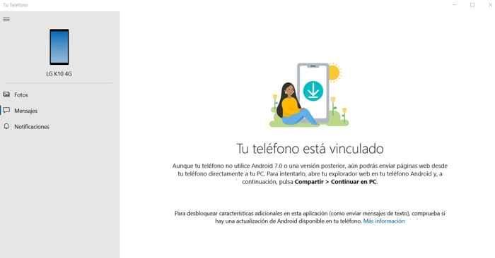 Windows 10 Tu Teléfono vinculado