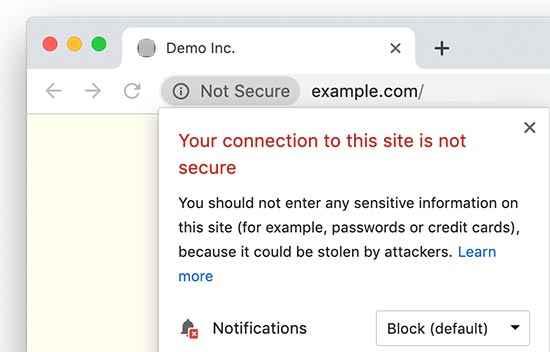 Chrome, conexión no segura