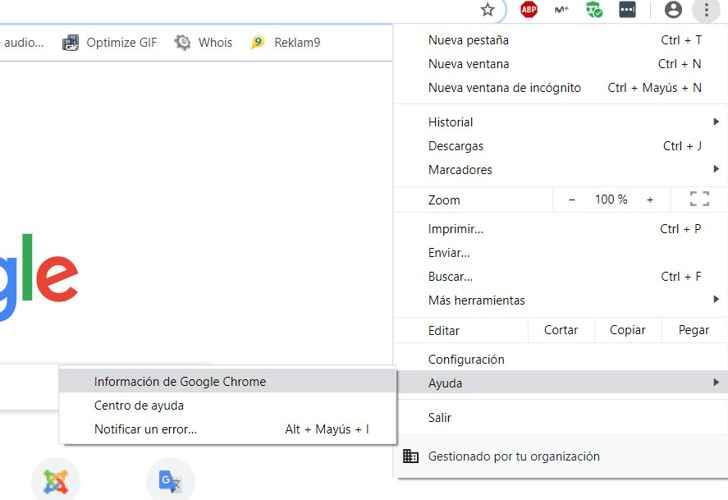 información sobre Chrome