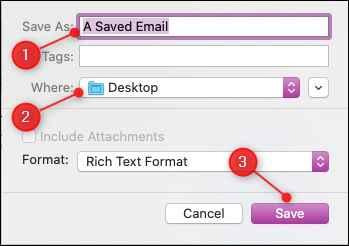 Apple Mail guardar en ubicación
