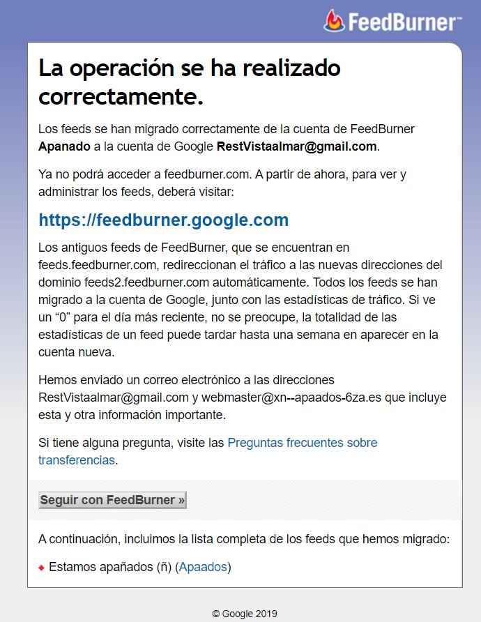 Migrar Feeds de FeedBurner a Google correcto