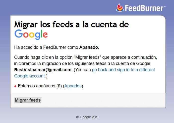 Migrar Feeds de FeedBurner a Google, iniciar el proceso