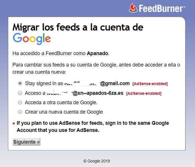 Migrar Feeds de FeedBurner a Google, opciones de ingreso