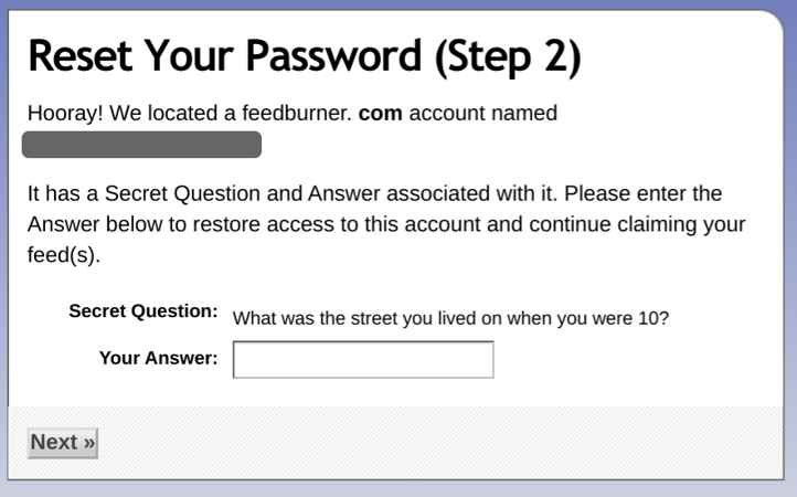 Recuperar Feedburner password