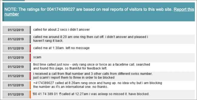 Wangiri Scam llamadas