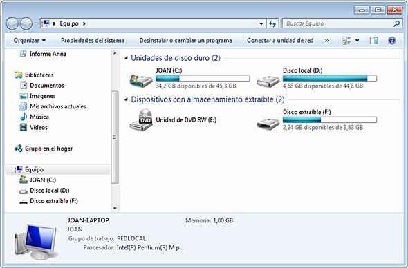almacenamiento en Windows 7