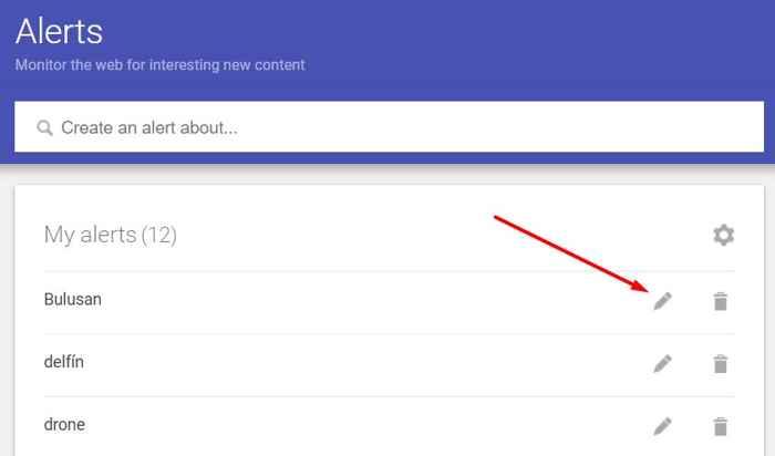 editar alerta de Google