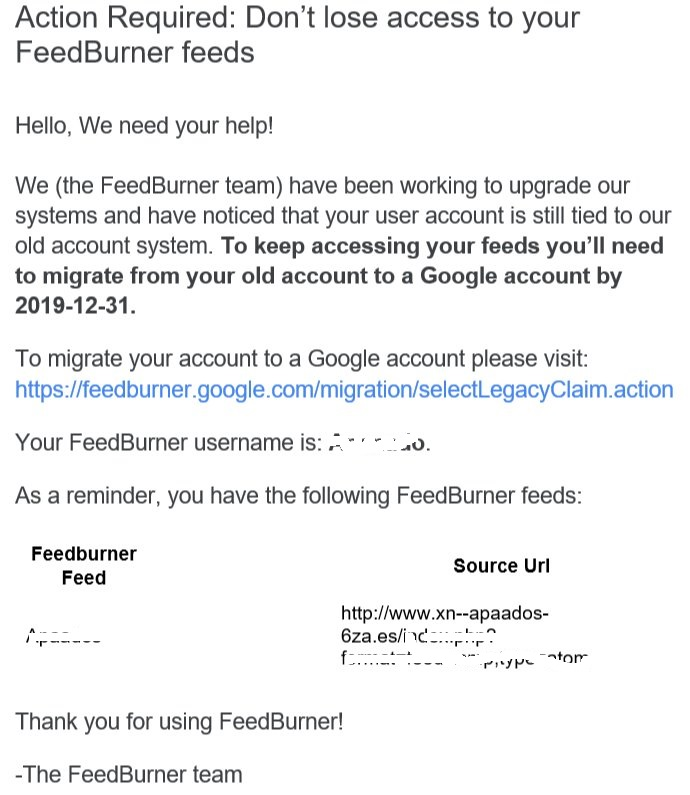 email de FeedBurner