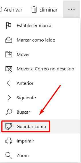 email guardar como en Outlook