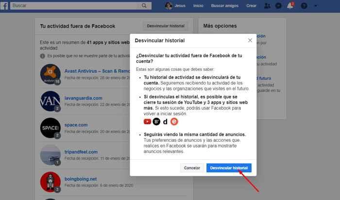 desvincular actividad fuera de Facebook, hecho