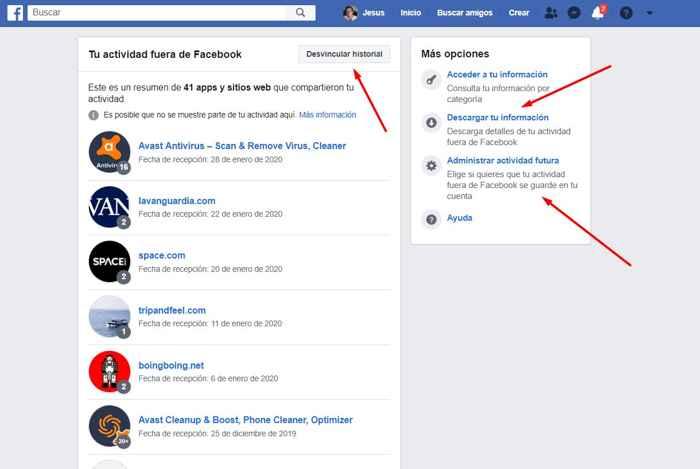 desvincular actividad fuera de Facebook