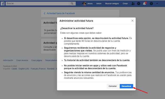 desvincular actividad futura de Facebook