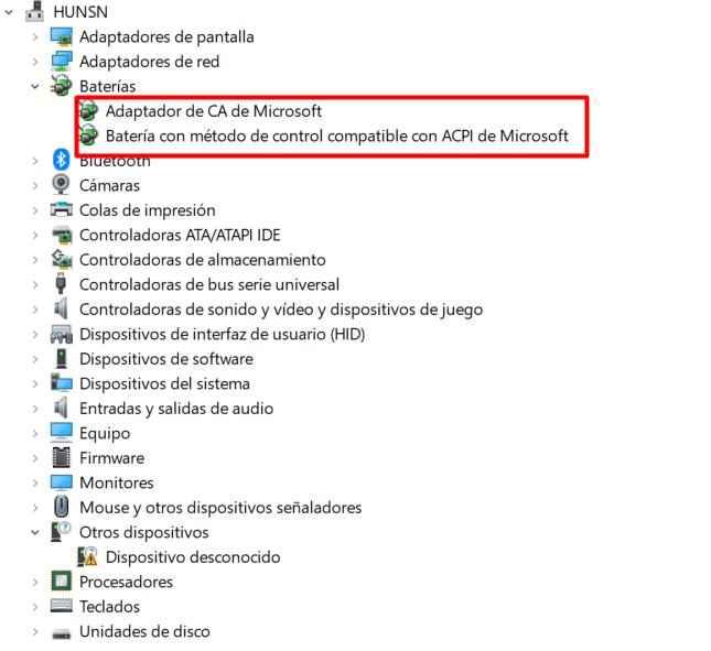 administración de baterías en Windows 10