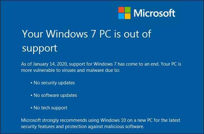 fin de soporte de Windows 7