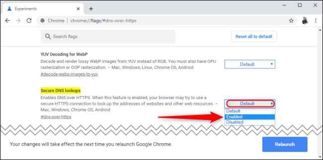 DNS sobre HTTPS en Google Chrome