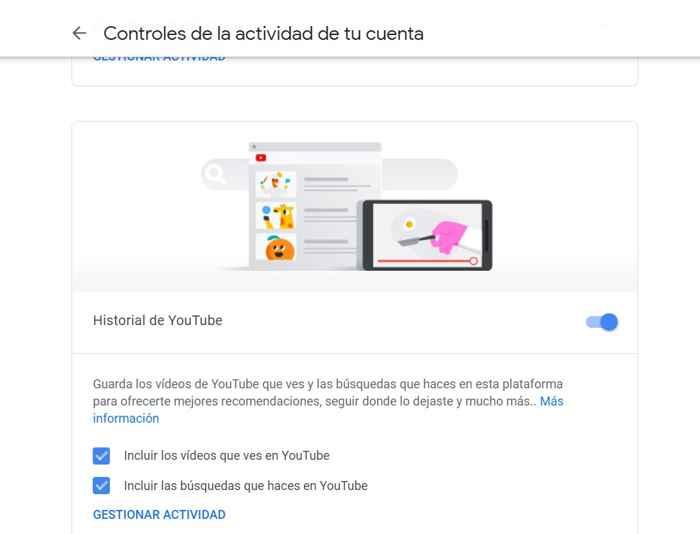 Google actividad en Youtube