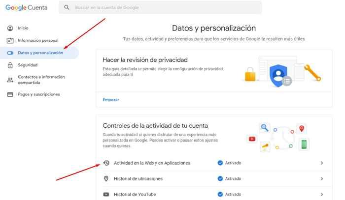 Google actividad web y aplicaciones