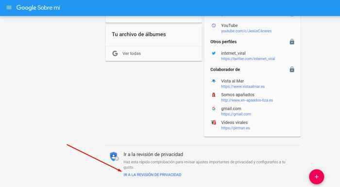 Google información personal revisión de privacidad