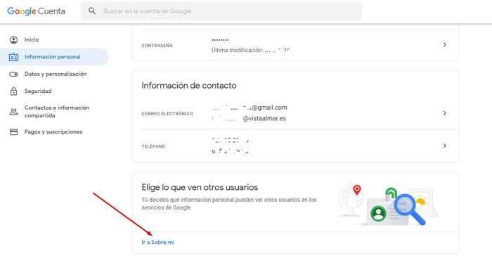 Google información personal sobre mi