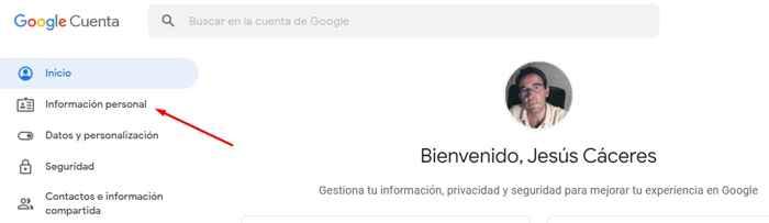 Google información personal