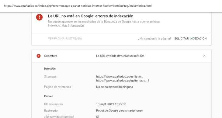 Search Console cobertura error 404 detalle url