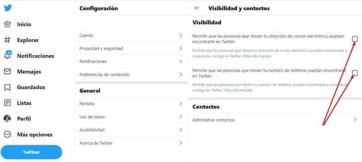 desactivar Twitter visibilidad