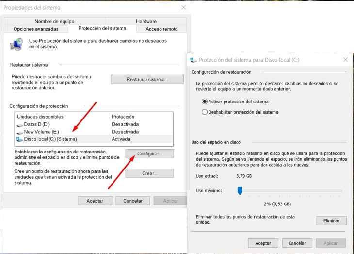 activar protección del sistema en Windows 10