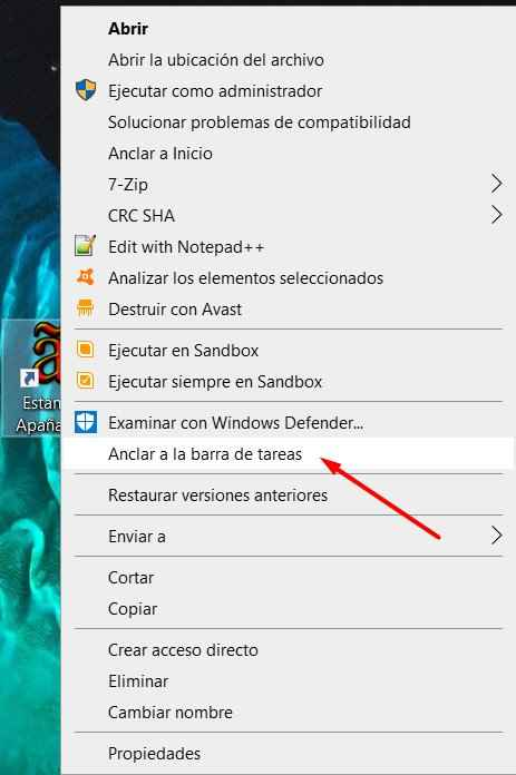 anclar acceso directo en Windows 10