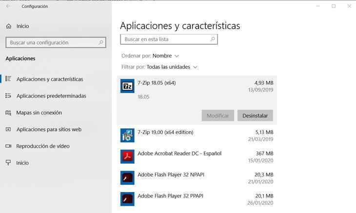 aplicaciones y características en Windows 10