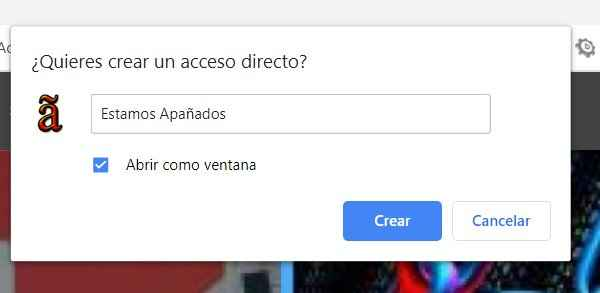 Chrome, crear acceso directo en Windows 10 de apañados