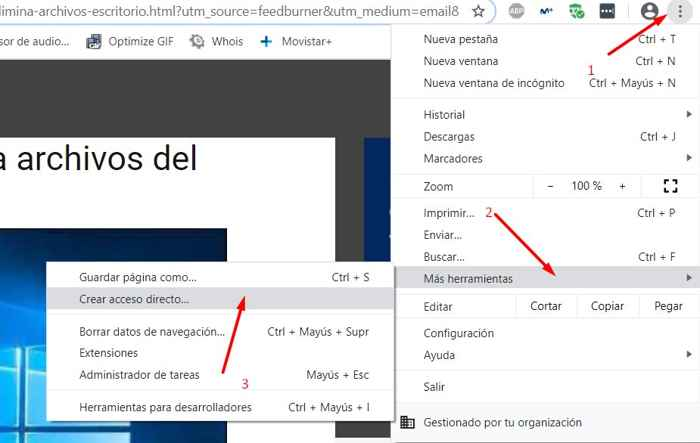 Chrome, crear acceso directo en Windows 10
